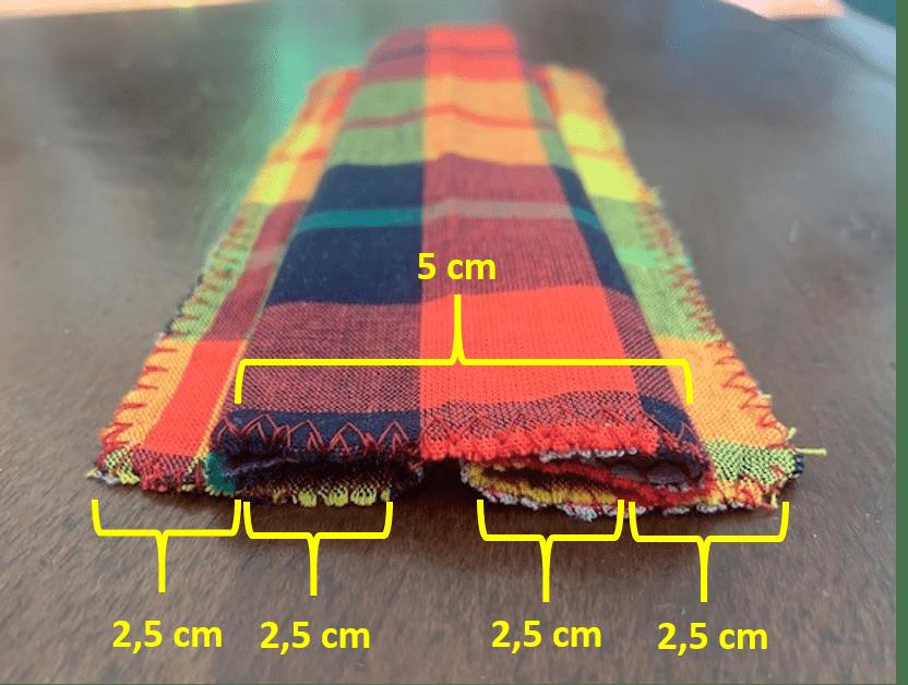 Bande de tissu repliée