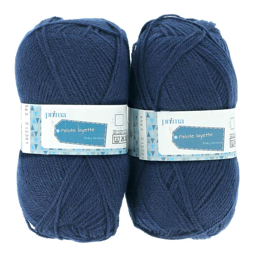 Lot de 2 pelotes layette bleu fonce - Prima Mercerie