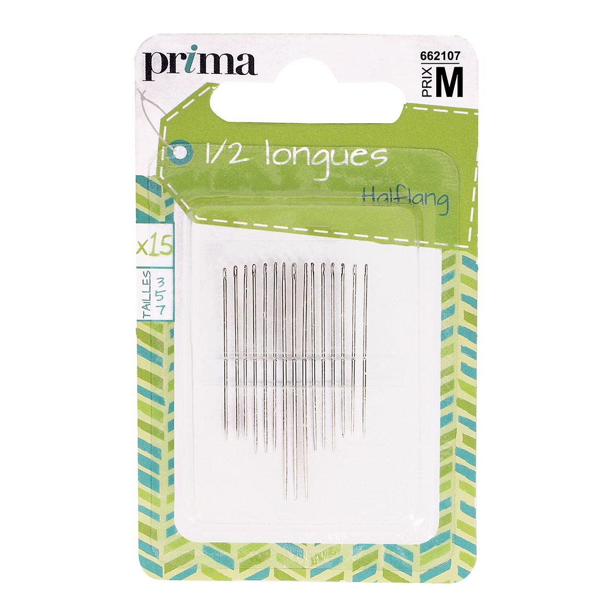 Aiguille 1/2 longues x15 avec pack - Prima Mercerie