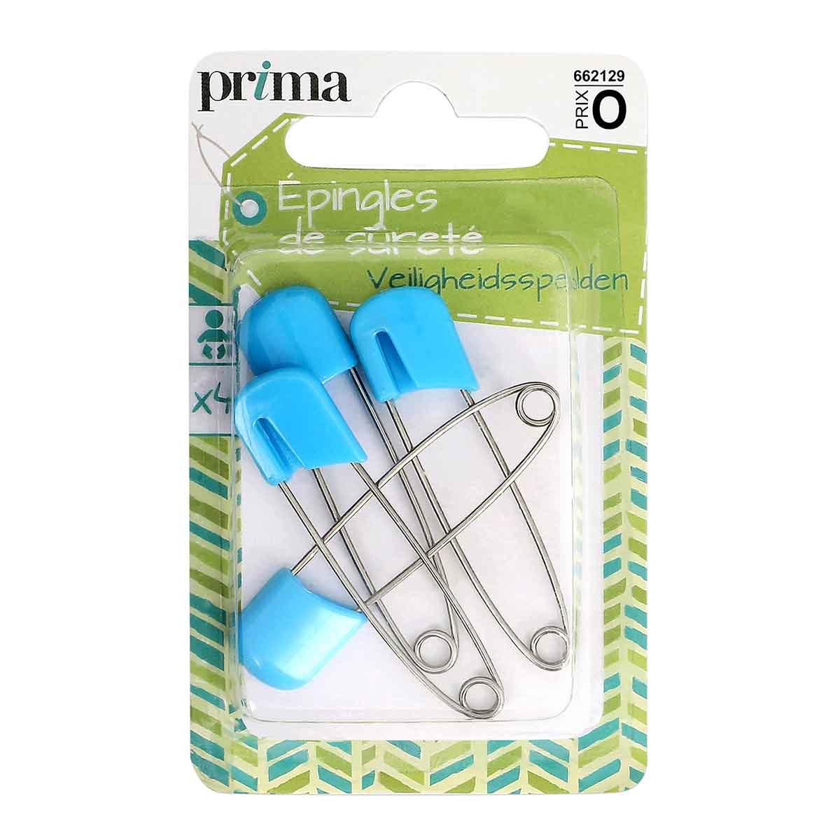 Épingles de sûreté bébé x4 bleu avec pack - Prima Mercerie