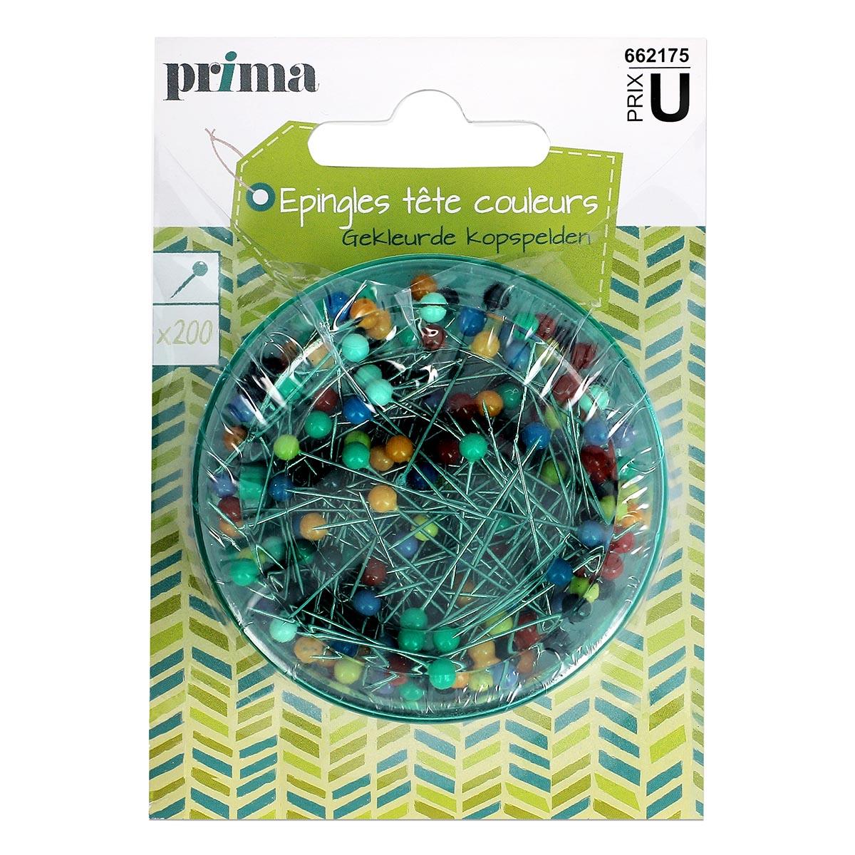 200 Épingles tête couleurs avec pack - Prima Mercerie